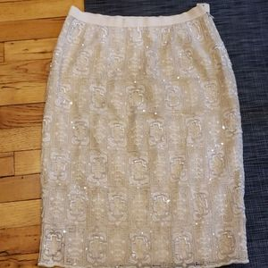 Oscar de la Renta  Lace and Sequin  Skirt